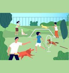 pets playground funny domestic dogs men vector image