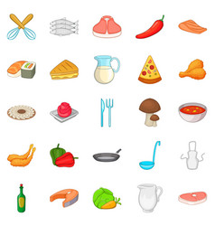 pizza icons set cartoon style vector image