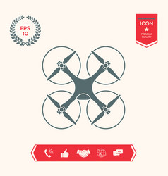 Quadcopter flying drone icon vector