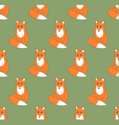 red fox on green background vector image