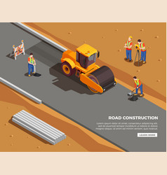 Road construction isometric composition vector