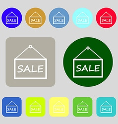 Sale tag icon sign 12 colored buttons flat design vector