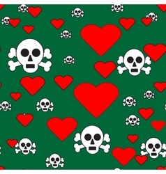 Sculls and Hearts on Green Seamless Pattern vector