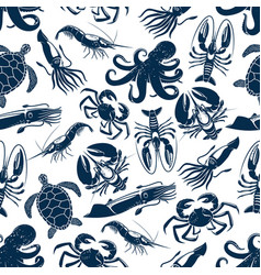 Seamless pattern sea animals fishing catch vector