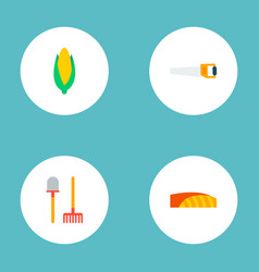 Set of agricultural icons flat style symbols with vector