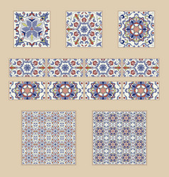 Set of portuguese tiles and borders vector