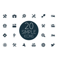 Set of simple repairing icons vector
