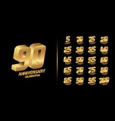 Set trendy anniversary logotype vector