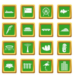 Singapore icons set green vector