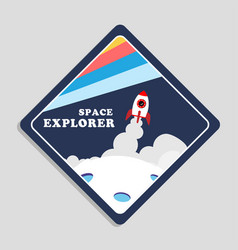space explorer launch rocket with moon background vector image