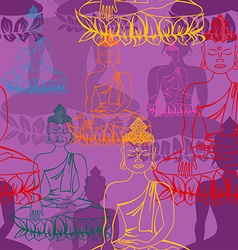 Statue of Buddha seamless pattern vector