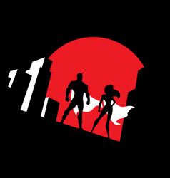 superhero couple background symbol vector image