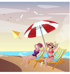 two young woman friends at beach vector image vector image