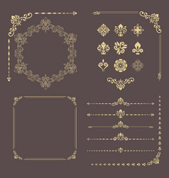 vintage set of horizontal square and round vector image