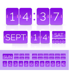 Violet analog counter and flip calendar isolated vector
