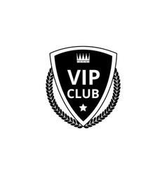 vip club - black shield badge icon with crown vector image