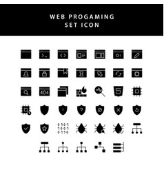 web programing glyph style icon set vector image