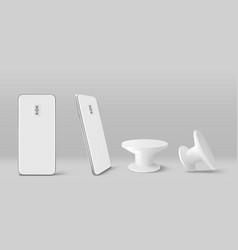 White smartphone back and pop socket holder vector