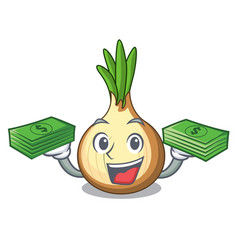 With money cartoon ripe yellow onion for cooking vector