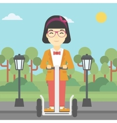 Woman driving electric scooter vector image