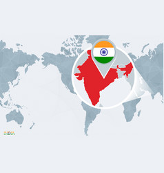 World map centered on america with magnified india vector