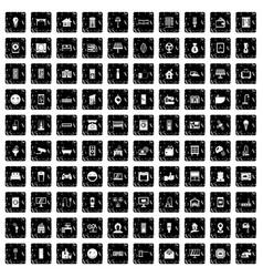 100 smart house icons set grunge style vector image
