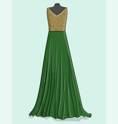 beige and green long dress with green lace on the vector image vector image