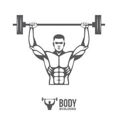 Bodybuilder lifting barbell vector image vector image