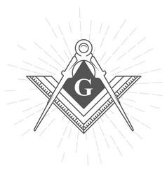 freemason symbol - illuminati logo with compasses vector image