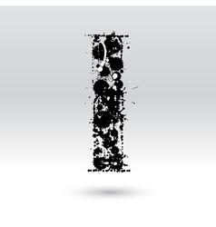 Letter I formed by inkblots vector image