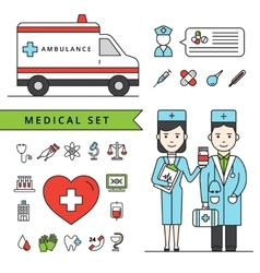Medicine Concept Set With Ambulance And Doctors vector image
