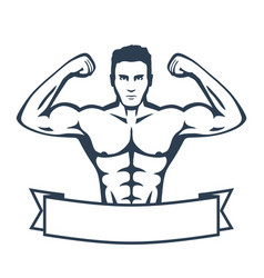 posing athlete strong bodybuilder man isolated on vector image