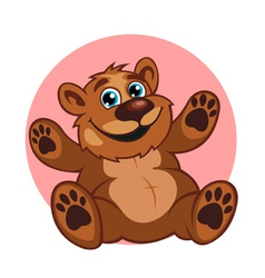 Smiling brown bear toy vector image