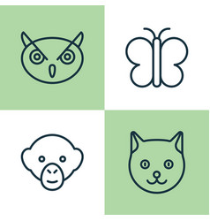 zoo icons set collection of moth baboon kitten vector image vector image