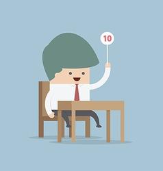 Businessman judge holding ten score signs vector image vector image
