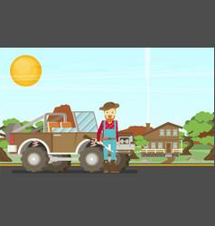 cartoon hunter with gun redneck car nature vector image