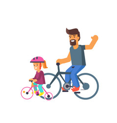 family bike ride with dad and little daughter vector image