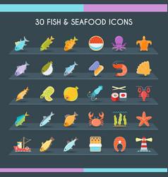 fish and seafood thin set vector image vector image