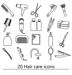 hair care theme black simple outline icons set vector image vector image