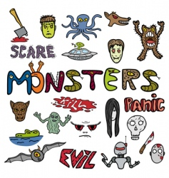 monster doodles vector image vector image