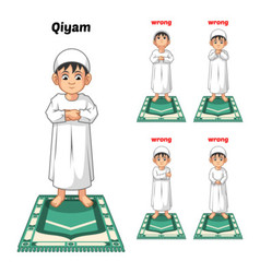 Muslim Prayer Position Guide Step by Step vector image vector image