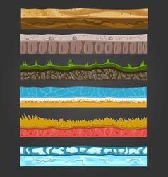 Seamless ground elements set landscape 2 vector image