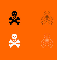 skull and bones black and white set icon vector image