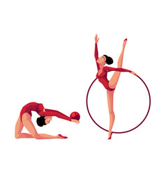 two rhythmic gymnasts in leotards exercising with vector image