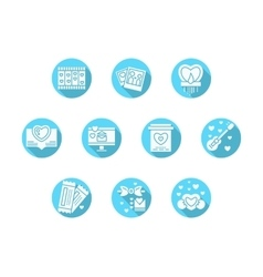 Valentines Day party blue round icons vector image vector image
