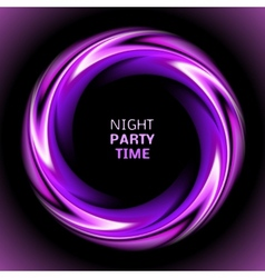 Abstract light purple swirl circle on black vector image