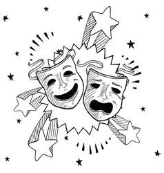 doodle pop drama masks vector image