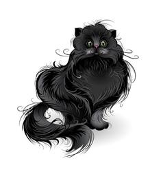 Fluffy black cat vector