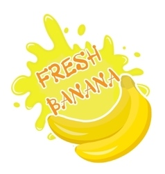 Fresh banana splash icon logo sticker Fruit vector image