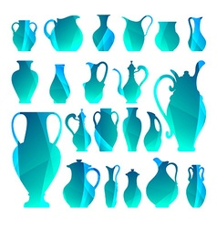 silhouettes of vases Isolated crockery Digital vector image